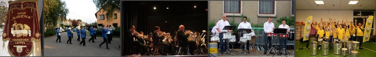 Fanfare en slagwerk-percussiegroep Sirena en sambaband Batucada Arenis